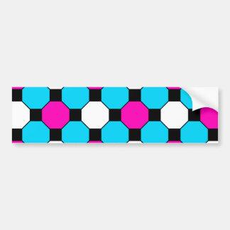 Hot Pink Teal White Black Squares Hexagons Bumper Sticker
