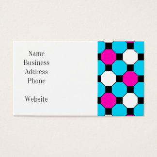 Hot Pink Teal White Black Squares Hexagons Business Card