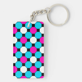 Hot Pink Teal White Black Squares Hexagons Keychain
