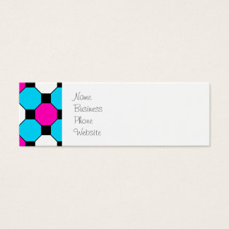 Hot Pink Teal White Black Squares Hexagons Mini Business Card