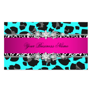 Hot Pink Teal Wild Animal Black Jewel Look Image Business Card