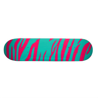 Hot Pink Teal Zebra Print Animal Comp Skateboard