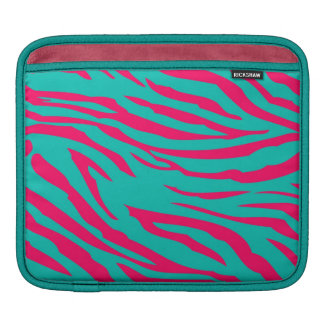 Hot Pink Teal Zebra Print Animal iPad Sleeve