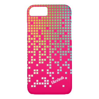 Hot pink techno raining pixels groovy iPhone 7 case