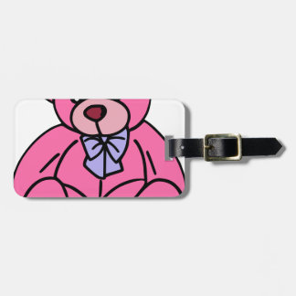 Hot Pink Teddy Bear Cute and Huggable Bag Tag