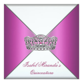 Hot Pink Tiara Quinceanera 15th Party Personalized Invite