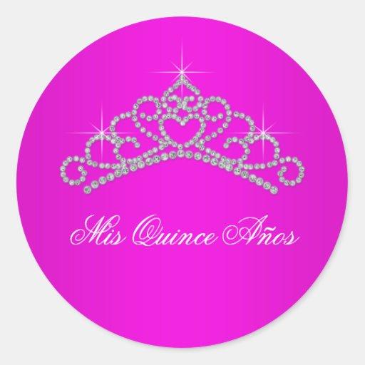 Hot Pink Tiara Sweet 15 Quinceanera Stickers