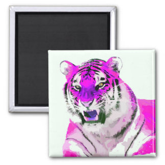 Hot Pink Tiger Portrait Painting 2 Inch Square Magnet