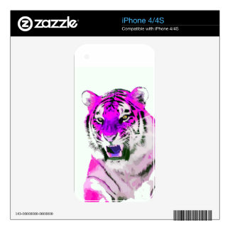 Hot Pink Tiger Portrait Painting Decal For The iPhone 4S