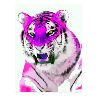 Hot Pink Tiger Portrait Painting Postcard