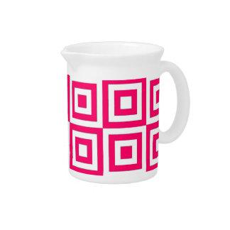 Hot Pink Tiles Drink Pitcher