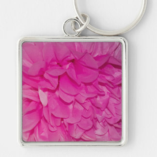 Hot Pink Tissue Paper Flower Closeup Photo Silver-Colored Square Keychain