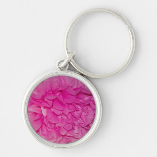 Hot Pink Tissue Paper Flower Closeup Photo Silver-Colored Round Keychain