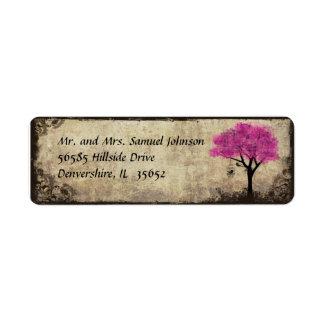 Hot Pink Tree Return Address Label
