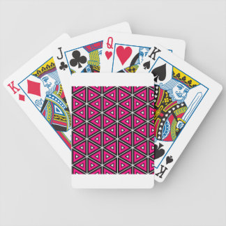 Hot pink triangles bicycle playing cards