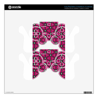 Hot pink triangles skin for PS3 controller