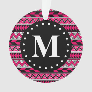 Hot Pink Tribal Chevron Pattern Monogram Ornament