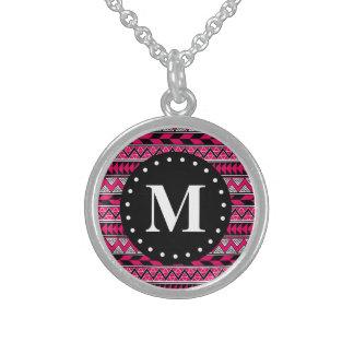 Hot Pink Tribal Chevron Pattern Monogram Sterling Silver Necklace
