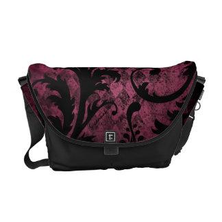 Hot Pink Trim Vintage Damask Swirl Argyle Pattern Messenger Bags