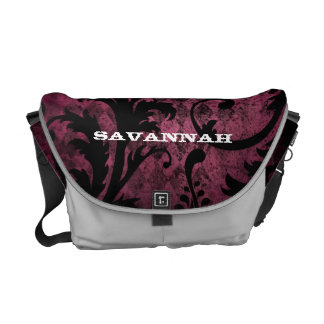 Hot Pink Trim Vintage Damask Swirl Argyle Pattern Messenger Bag