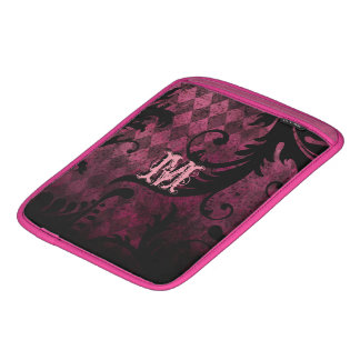 Hot Pink Trim Vintage Damask Swirl Argyle Pattern Sleeve For iPads