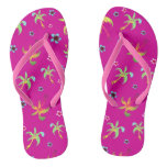 Hot pink tropical palms and flowers on pink flip flops