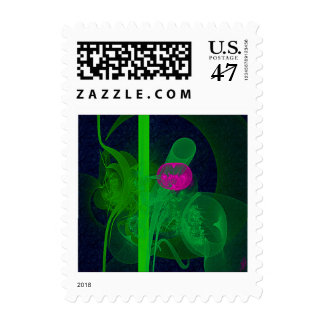 Hot Pink Tulip Faery Meeting Hall Abstract Art Postage