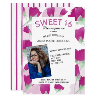 Hot Pink Tulip Sweet 16 Invitations