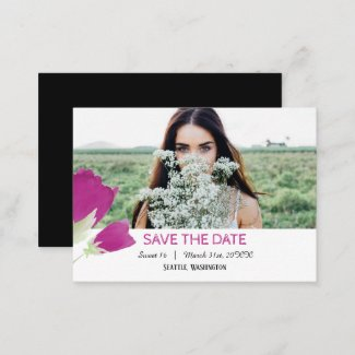 Hot Pink Tulips Save the Date Card