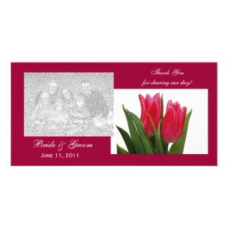 Hot Pink Tulips Thank You Photo Cards