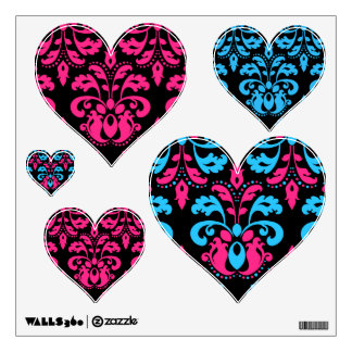 Hot pink turquoise and black damask heart set wall decor