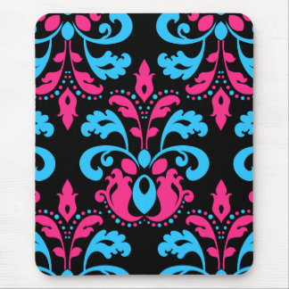 Hot pink turquoise and black damask mouse pad