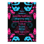 Hot pink, turquoise, black damask birthday party invite
