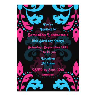 Hot pink, turquoise, black damask birthday party 5x7 paper invitation card