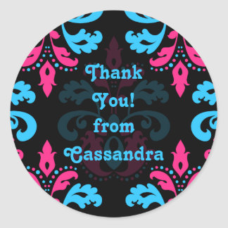 Hot pink turquoise black damask Thank you Classic Round Sticker