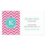 Hot Pink & Turquoise Chevron Custom Monogram Business Cards