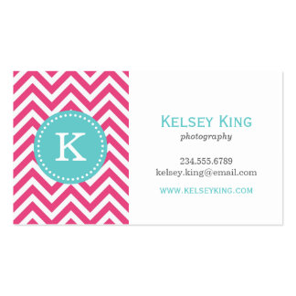 Hot Pink & Turquoise Chevron Custom Monogram Double-Sided Standard Business Cards (Pack Of 100)