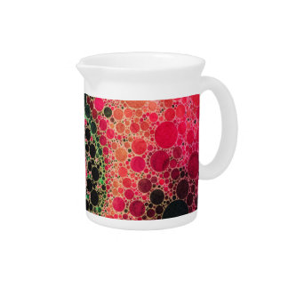 Hot Pink Turquoise Green Abstract Drink Pitcher