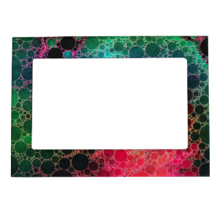 Hot Pink Turquoise Green Abstract Magnetic Picture Frame