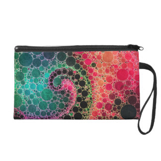 Hot Pink Turquoise Green Abstract Wristlet Purse