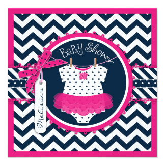 Hot Pink Tutu & Chevron Print Baby Shower Custom Announcements