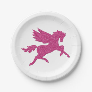 Hot pink unicorn in glitter texture paper plate