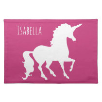 Hot Pink Unicorn Silhouette Girls Personalized Cloth Placemat