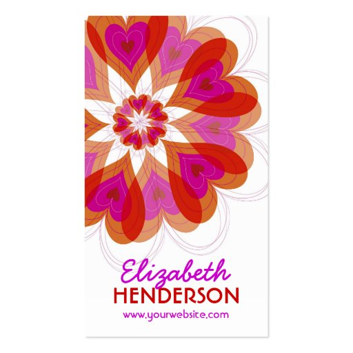 Hot Pink Valentine Flower Love Hearts Profile Card Double-Sided Standard Business Cards (Pack Of 100)