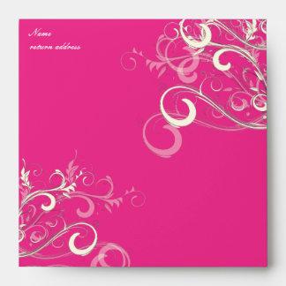 Hot Pink Vanilla Swirls, 5.25x5.25 Envelope