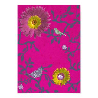 Hot Pink & Vines Birds & Flowers Invitation