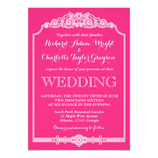 Hot Pink Vintage and Classic Wedding Invitation