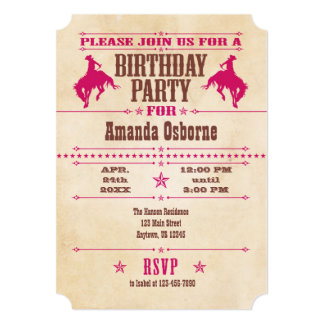 Hot Pink Vintage Cowboy Birthday Invitation