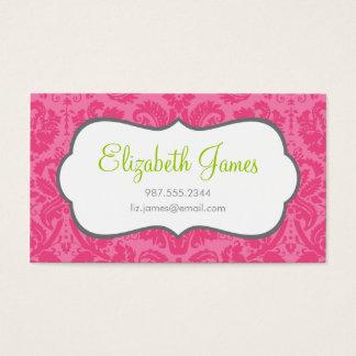 Hot Pink Vintage Damask Business Card