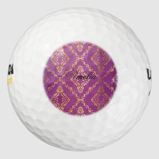 Hot pink,vintage,damask,gold,pattern,antique,ruby, pack of golf balls